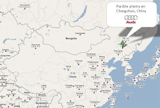 Mapa de la posible planta de Audi en China