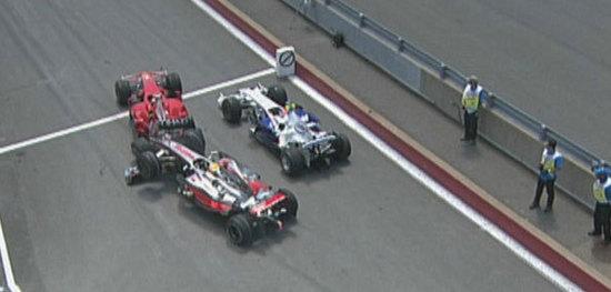 Accidente Hamilton Raikkonen